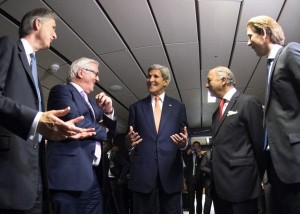 French Foreign Minister Laurent Fabius, second right, German Foreign Minister Frank-Walter Steinmeier, second left, British Foreign Secretary Philip Hammond, left, U.S. Secretary of State John Kerry, center, and Austria's Foreign Minister Sebastian Kurz, right, talk in Vienna, Austria last month when the deal was announced.