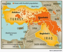 kurdish population map